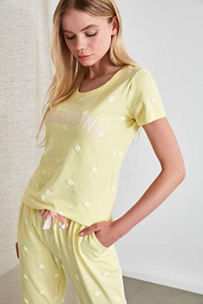 Sarı Puantiyeli Örme Pijama Takımı THMSS20PT0080