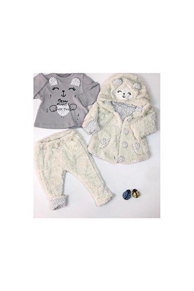 Kız Bebek Sweatshirt Pantolon Hırkalı 3lü Takım Kışlık Welsoft 3-18 Ay 5389