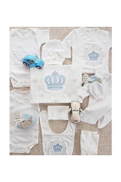 Erkek Bebek Beyaz  10 Parça Prens Taç Işlemeli Hastane Çıkışı Seti