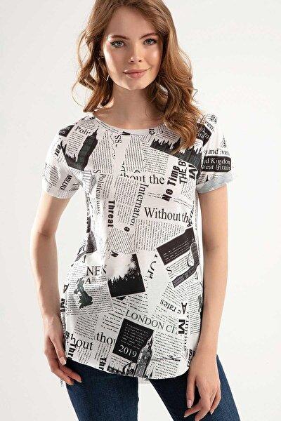 Kadın Beyaz Gazete Baskılı Arkası Uzun T-shirt Ptty20s-4265