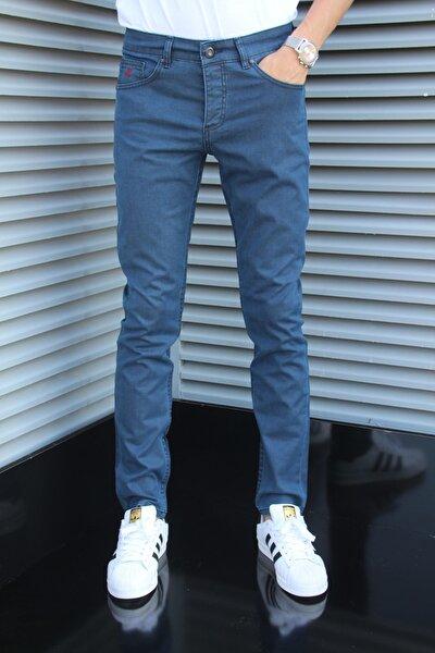 Erkek Mavi Klasik Dar Kesim Kot Pantolon
