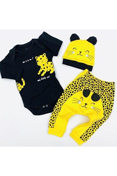 Kız Bebek Sarı Baskılı Body Takım