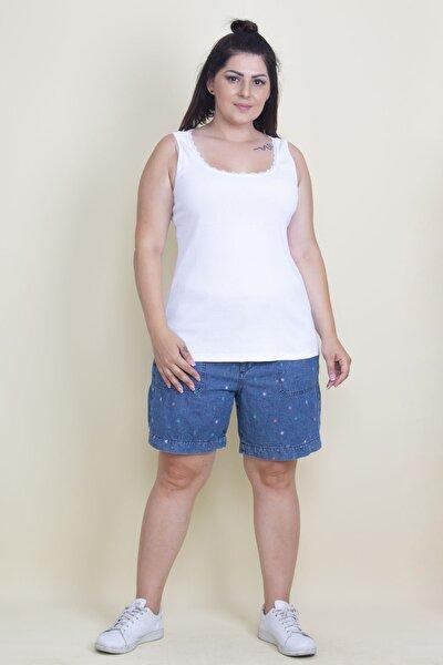 Kadın Beyaz Dantel Detaylı Bluz