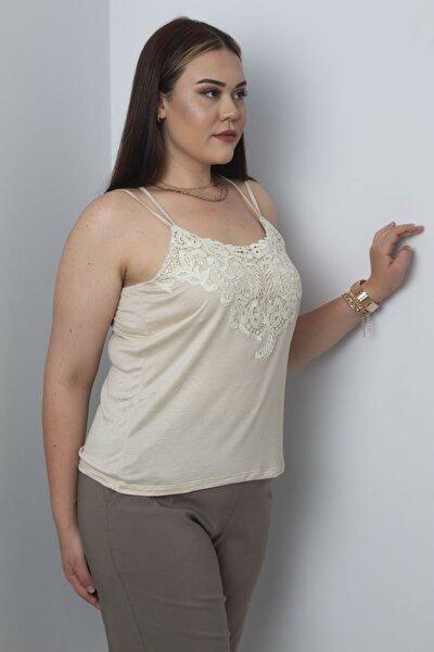 Kadın Vizon Dantel Detaylı Askılı Bluz