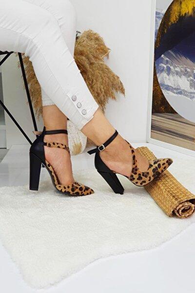 Kadın Leopar Desenli Kalın Topuklu Ayakkabı