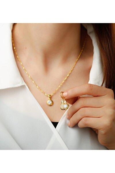925 Ayar Gümüş Altın Kaplama Tektaşlı Trend Takı Seti