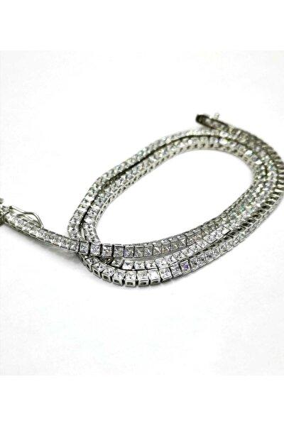 Silver Kadın Su Yolu Beyaz Taş 2,75mm Gümüş Ithal Kolye
