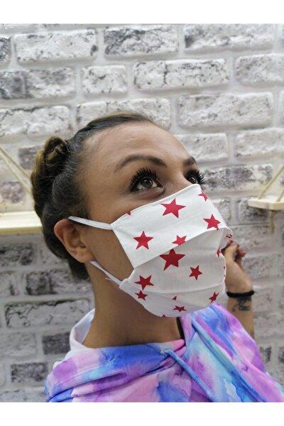 Beyaz Kırmızı Yıldızlı Yıkanabilir Yetişkin Bez Maske