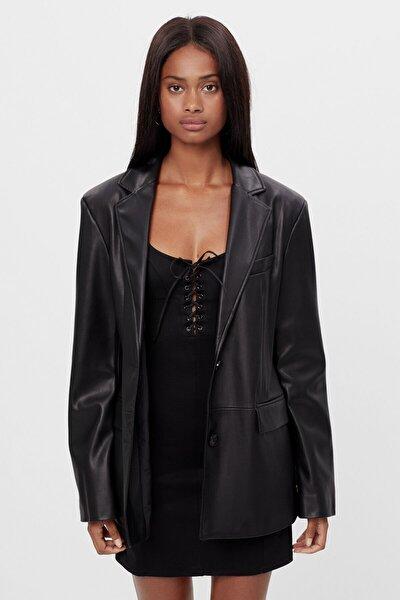 Kadın Siyah Suni Deri Blazer