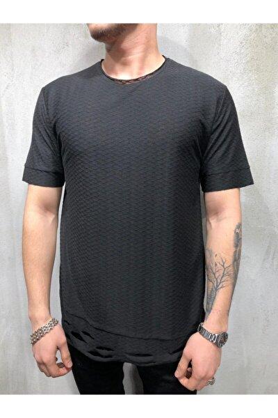 Erkek Siyah Petek Desen Salaş Triko Tshirt
