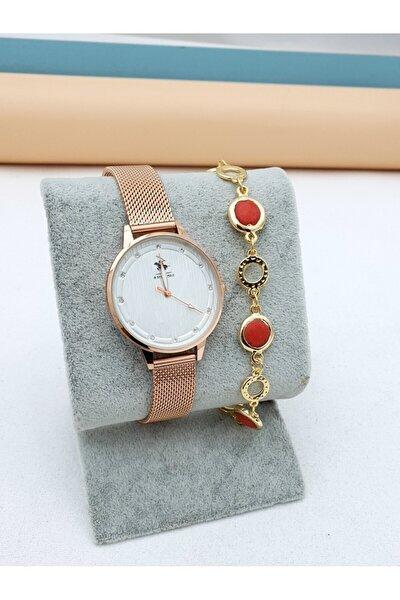 Rose Gold Metal Kordon Kadın Kol Saati+ Bileklik Hediyeli