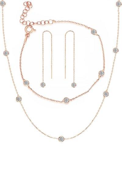 Gümüş Rose Zirkon Taşlı Tiffany Set Sıra Taşlı Takım Seti