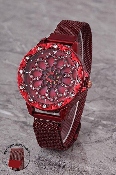 Plkhm007r01 Kadın Saat Taşlı Göstergeli Oynar Çiçekli Kadran Mıknatıslı Hasır Kordon
