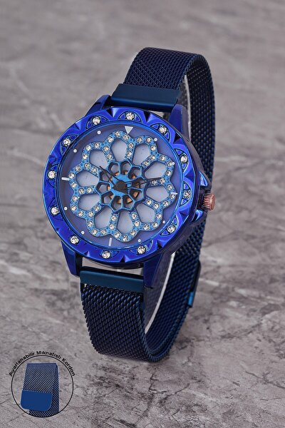 Plkhm007r04 Kadın Saat Taşlı Oynar Çiçekli Kadran Mıknatıslı Hasır Kordon