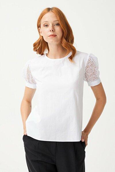 Kadın Beyaz Kolları Dantel Kısa Kol Bluz