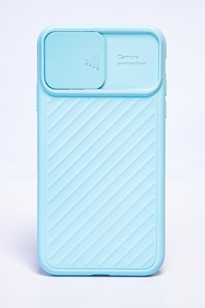 Iphone 6s Plus Kamera Kapaklı Mavi Telefon Kılıfı