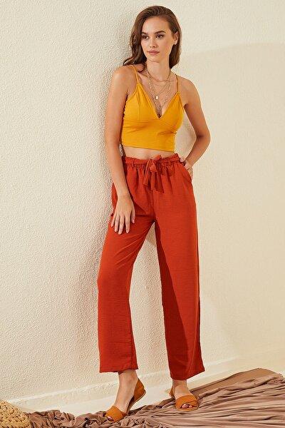Kadın Kiremit Yüksek Bel Bol Kesim Aerobin Pantolon
