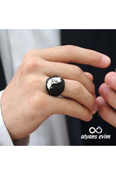 Gümüş Kartal Motif Siyah Mikro Taşlı Erkek Yüzük