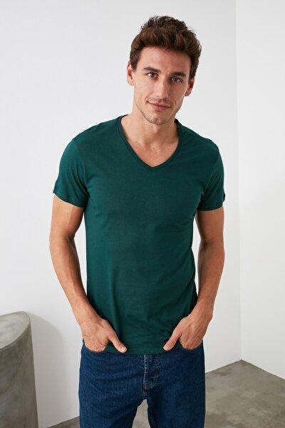Ördek Başı Yeşili Erkek Basic Slim Fit T-Shirt - Pamuklu V Yaka Slim Fit T-Shirt TMNSS19BO0002