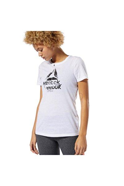 Gs Texture Logo Crew Beyaz Kadın Kısa Kol T-shirt