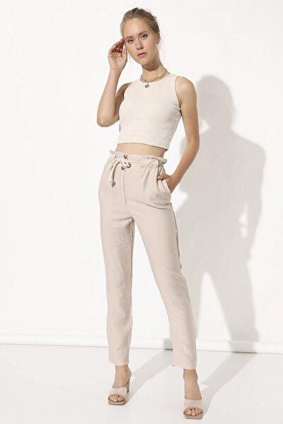 Kadın Taş Rengi Beli Ipli Pantolon