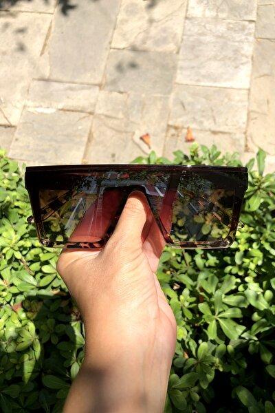 Bonas Üstü Düz Kare Büyük Güneş Gözlüğü Kahverengi Leoparlı