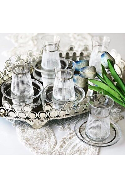 El Dekorlu Desenli 6 Kişilik 12 Parça Çay Cam Bardağı Seti