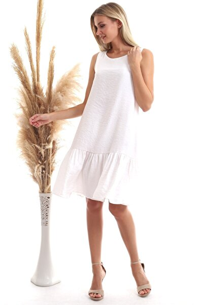 Kadın Ekru Keten Eteği Fırfırlı Cepli Kolsuz Elbise 20333433