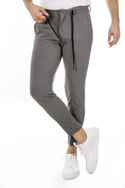 Erkek Gri Beli Bağlamalı Skiny Fit Bilek Boy Pantolon G21pb312