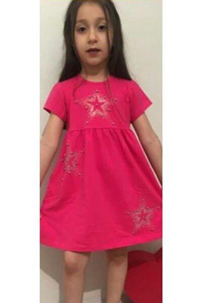 Kız Çocuk Fuşya Taş Detaylı Elbise