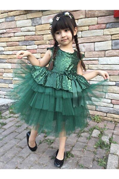 Kız Çocuk Yeşil Pul Payet Elbisesi