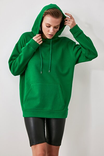 Yeşil Kanguru Cepli Kapüşonlu Boyfriend Örme Sweatshirt TWOAW20SW0525