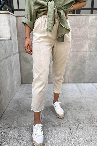 Kadın Bej Paçası Kesik Detay Cepli Havuç Kesim Keten Pantolon