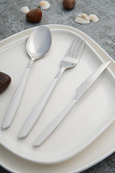 Nadia Beyaz Paslanmaz Çelik 18 Parça Çatal Kaşık Bıçak Takımı
