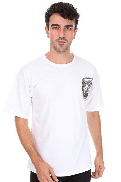 Unisex Beyaz Kurt Oversize T-shirt