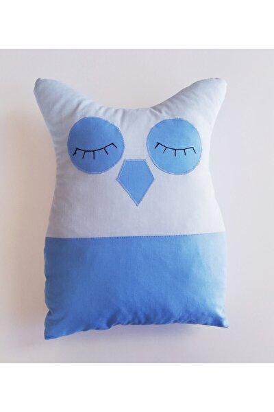 Bebek Çocuk Süs Yastığı Baykuş Figür Minder Emoji Yastık Mavi