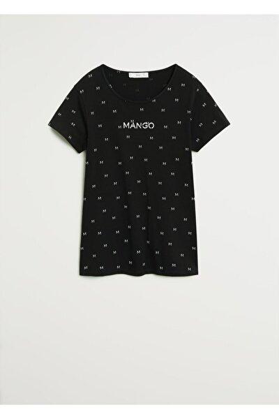 Kadın Siyah Logo Baskılı Tişört