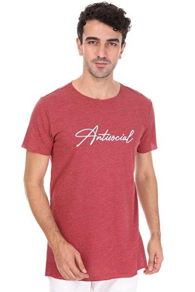Bordo Yırtmaçlı Antisocial Oversize Unisex T-shirt