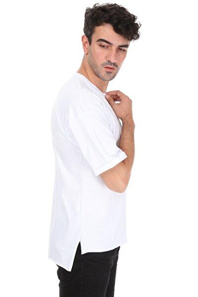 Unisex Beyaz Yırtmaçlı Kuru Kafa Oversize T-shirt