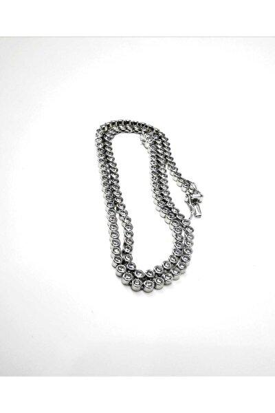 Silver Kadın Su Yolu Oval Beyaz Kolye Ithal Rodyumlu Taş Çapı 3mm