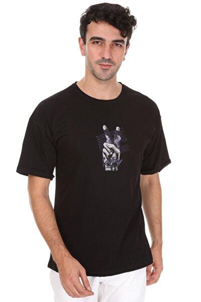 Unisex Siyah Victory Oversize T-shirt