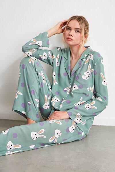 Tavşan Desenli Dokuma Pijama Takımı THMAW21PT0048