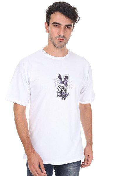 Unisex  Beyaz Victory Oversize T-shirt