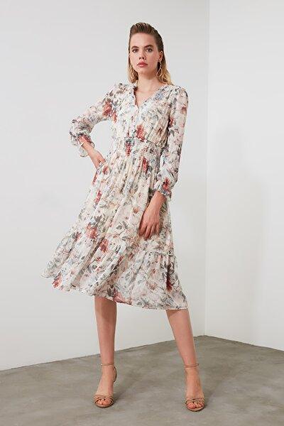 Krem Desenli Gipeli Elbise TWOSS20EL1251