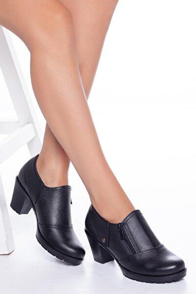 Hakiki Deri Günlük Kullanım Sonbahar / Kış Sezon Topuklu Kadın Ayakkabı