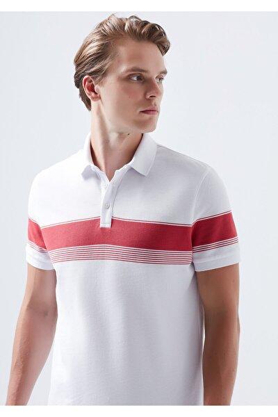 Çizgili Beyaz Polo Tişört
