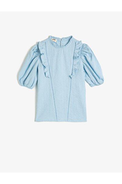 Kız Çocuk Mavi Pamuklu Kısa Kollu Fırfırlı Gömlek
