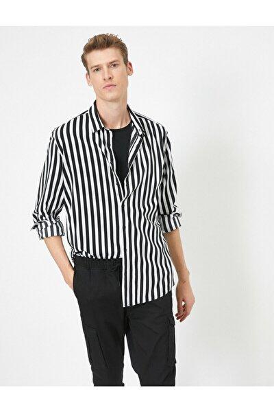 Erkek Siyah Çizgili Uzun Kollu Slim Fit Gömlek