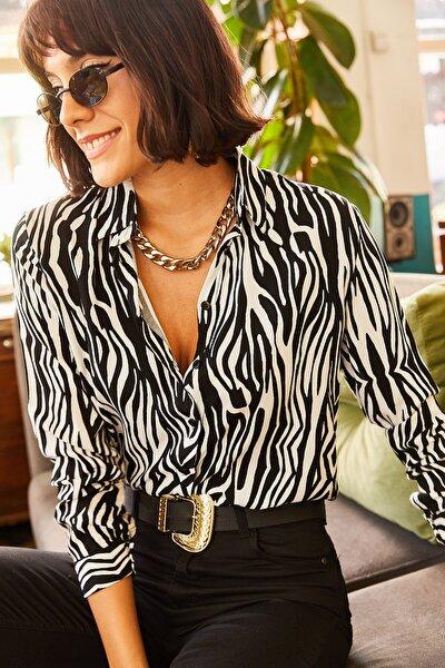 Kadın Siyah Zebra Desenli Viskon Gömlek GML-19000670