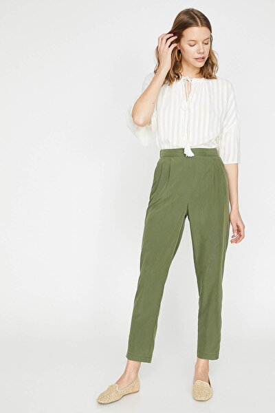 Kadın Yeşil Normal Bel Rahat Kesim Beli Bağlamalı Pantolon